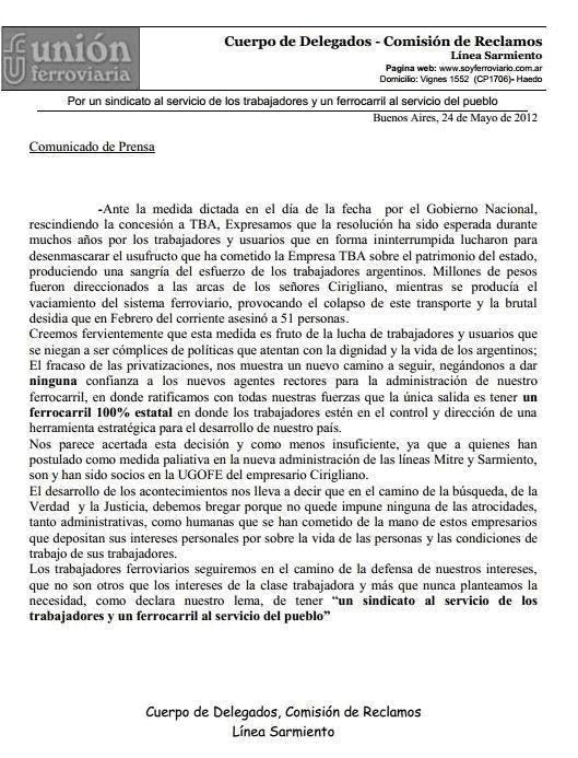 Comunicado del cuerpo de delegados de la Unión Ferroviaria de la línea Sarmiento