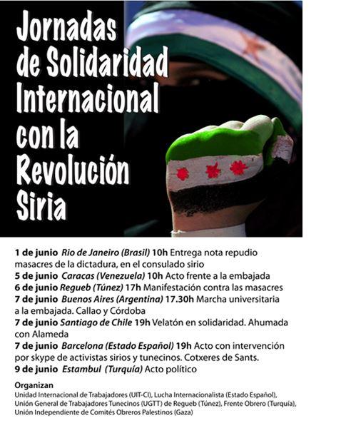 Apoyemos al pueblo rebelde de Siria en todo el mundo!!