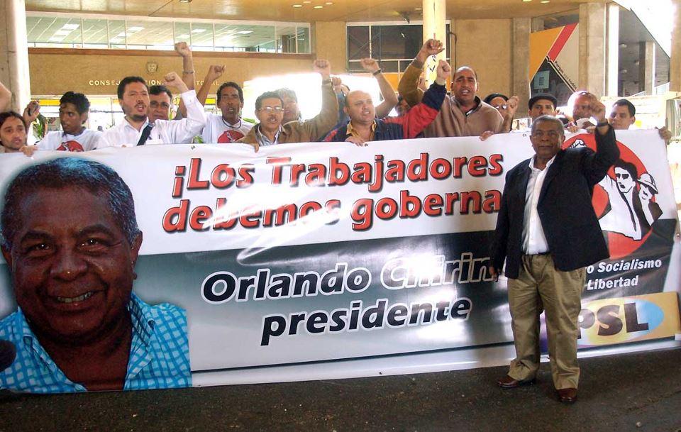 Orlando Chirino candidato a Presidente de Venezuela
