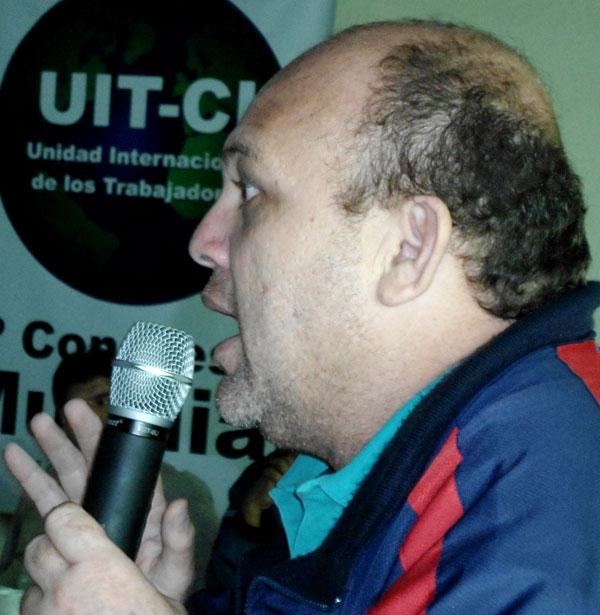 José Bodas - Secretario General de la Federación Unitaria de Trabajadores Petroleros de Venezuela saluda al IV Congreso mundial de la UIT-CI
