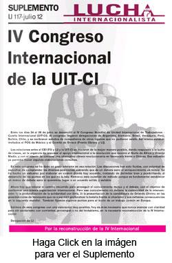 Suplemento IV Congreso de la UIT-CI editado por Lucha Internacionalista