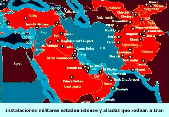 Bases militares de EEUU y sus aliados alrededor de Iran
