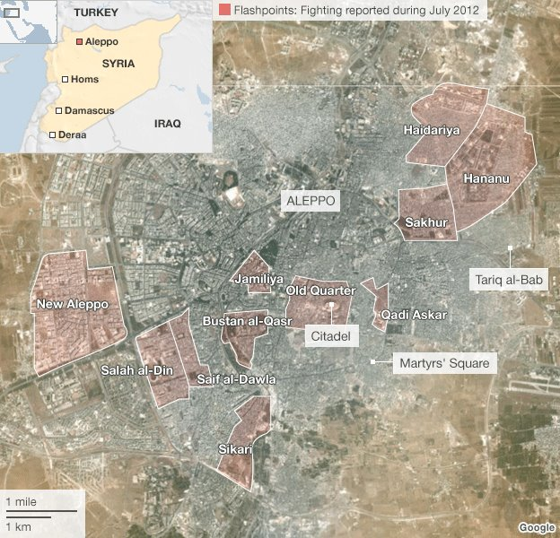 La batalla de Aleppo, Siria. En esta imagen se pueden ver resaltados los barrios donde se combate desde hace días.