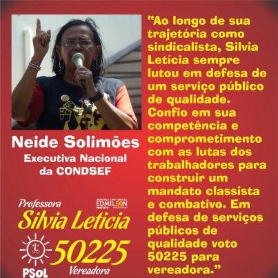 Neide Solimoes apoya a Silvia Leticia