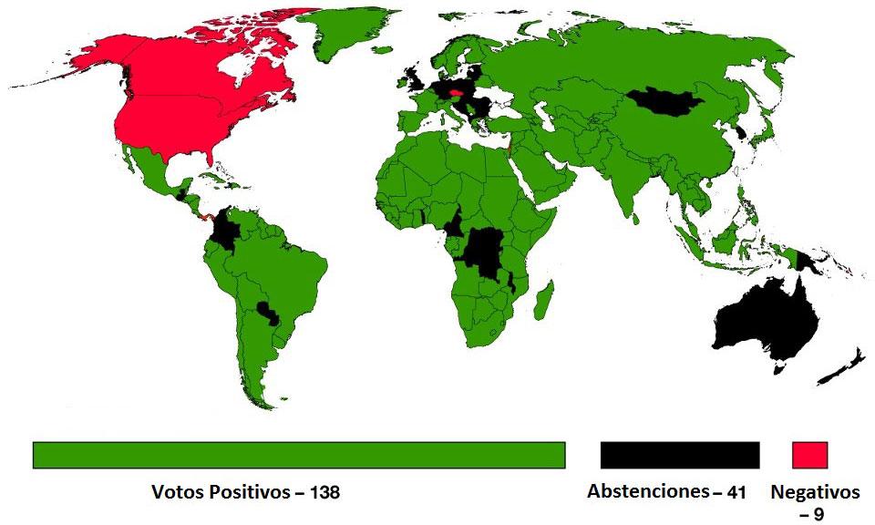 Como fue la votación en la ONU país por país