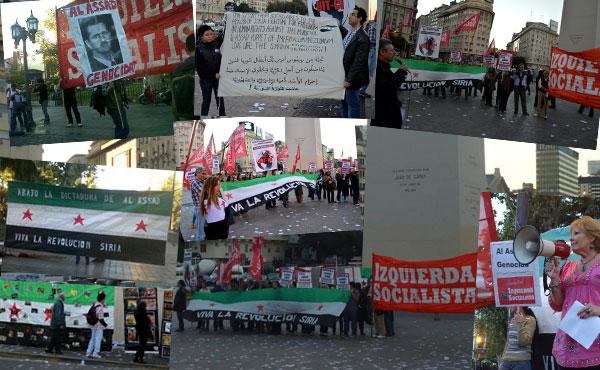 8 de mayo - Se realizaron actos en Buenos Aires y Córdoba, Argentina. En adhesión a la Jornada mundial en apoyo a la revolución siria contra el sangriento dictador Bashar Al Assad .