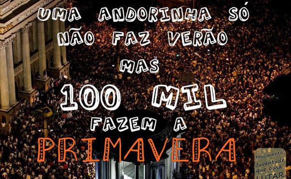 """""""Una golondrina no hace verano.... pero 100.000 hacen una primavera"""" imágen de las movilizaciones en Rio de Janeiro, Brasil"""