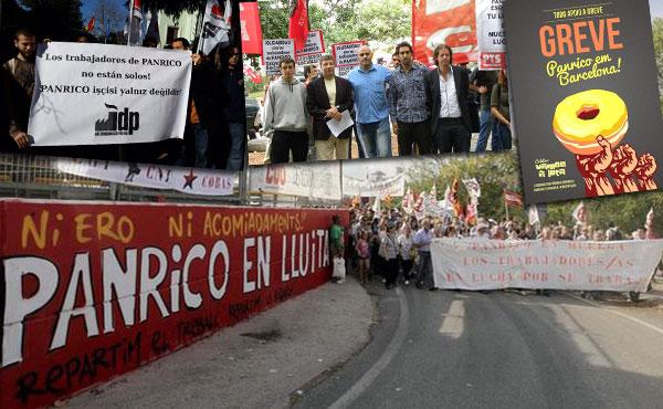 Exitosa jornada internacional en apoyo a la huelga de Panrico en Santa Perpetua, Barcelona.