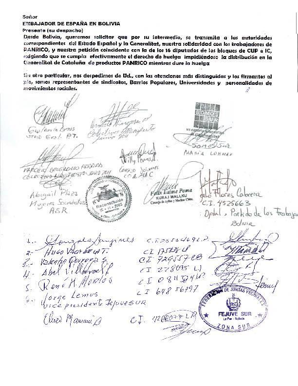 ¡SOLIDARIDAD CON LA HUELGA DE PANRICO! La Paz Bolivia