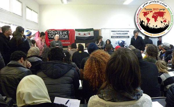 El revolucionario sirio Salamah Kaileh hablando en el taller de la UIT sobre la revolución siria