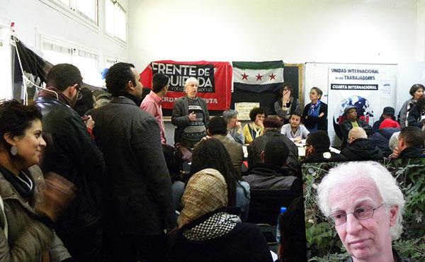 Salameh Kayleh hablando en el taller en apoyo  a la revolución siria organizado por la UIT-CI .  Allí Kayhleh propuso la necesidad de realizar un  encuentro internacional en respaldo a esa reolvución