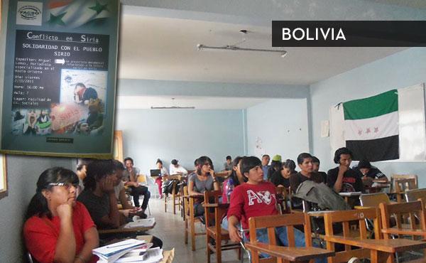 Charla a cargo de Miguel Lamas organizada por ARPT - La Protesta en la Universidad de Cochabamba, Bolivia.