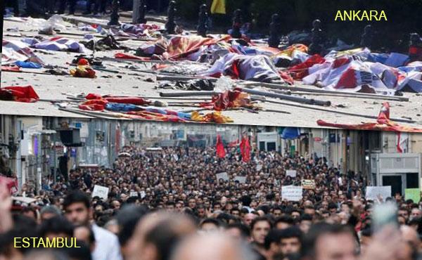 Justo antes de la manifestación organizada por los sindicatos (DISK, KESK, TMMOB, TTB), frente la estación de trenes en Ankara, dos bombas suicidas han causado más de 90 muertos y 186 heridos.