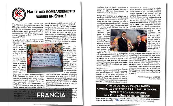 Volante repartido en Francia por el Groupe Socialiste Internationaliste, simpatizante del aUIT-CI