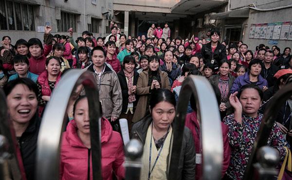 Trabajadoras textiles en huelga