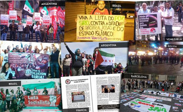 ¡Viva la lucha del pueblo sirio contra la dictadura, el ISIS y No a los bombardeos de EE.UU y Rusia!  Asilo ya a los refugiados. No a las restricciones de la UE  Apoyemos al pueblo en lucha sirio. Abajo Bashar Al Assad