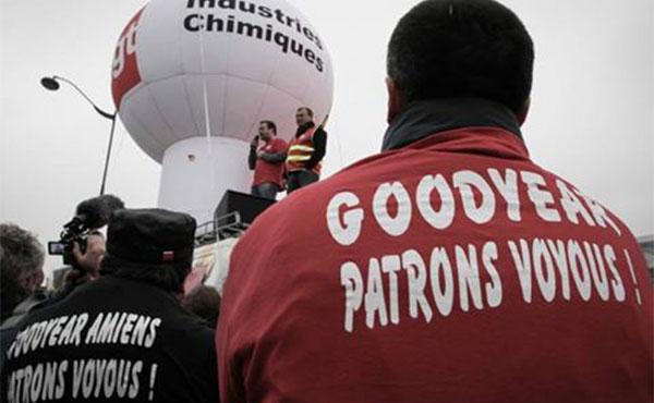 8 sindicalistas de la fábrica de neumáticos Goodyear de Amiens fueron condenados a 9 meses de prisión firme por haber ocupado y protestado contra el cierre de su fábrica , y contra el despido de 1200 obreros por los accionistas de la transnacional americana.