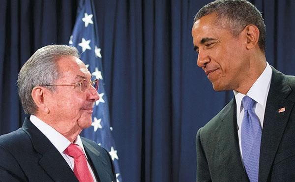 Obama con Raúl Castro
