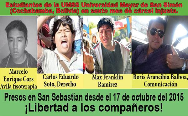 Boris Arancibia, Carlos Eduardo Soto, Marcelo Enrique Cors Ávila y Max Franklin Ramirez, encarcelados desde el 17 de octubre del 2015 por haber luchado en defensa de los derechos estudiantiles.