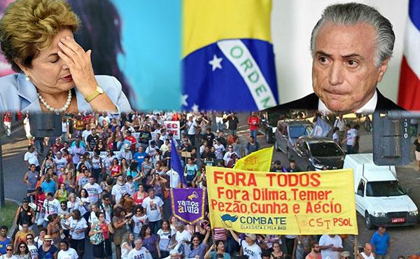 """Movilización por """"Fuera Todos"""" donde participó nuestro partido hermano de Brasil (CST)"""