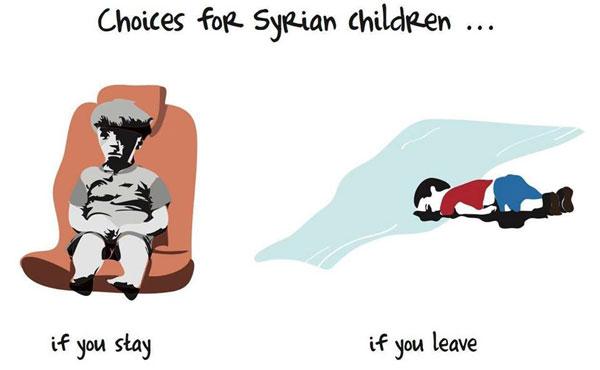 """""""Las opciones para los niños de Siria: quedarse (Omran Daqneesh) o irse (Aylan Kurdi)."""" del dibujante Khalid Albaih"""