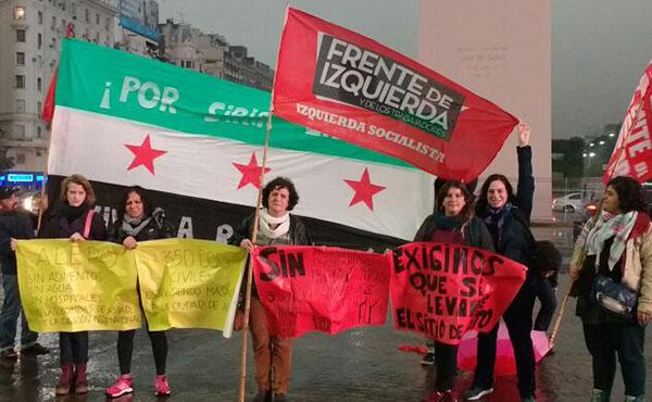 Izquierda Socialista en la jornada mundial de solidaridad, Obelisco, domingo 7/8