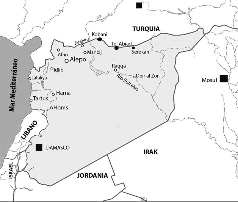 Mapa de Siria: El régimen de Al Assad, apoyado por la aviación rusa y tropas de elite iraquíes y de Hezbollah, trata de recuperar el norte del país, con centro en Alepo.  Por otro lado, tropas turcas invadieron la zona de Kurdistán sirio que ocupa la franja norte, fronteriza con Turquía. Entraron por Jarablus para  echar a las milicias kurdas de las localidades Afrin y Manbij, que habían recuperado de manos del ISIS, a oeste del río Eúfrates. Raqqa, seguía controlada  por el ISIS