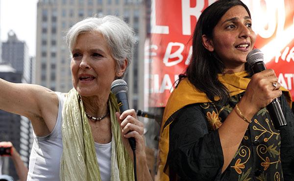 Izquierda:Jill Stein, candidata del Partido Verde - Derecha: Kshama Sawant, concejal del  grupo trotskista Alternativa Socialista