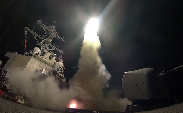 About 50 US cruise missiles were launched on military installations of the Syrian regime of al-Assad by order of Donald Trump.
