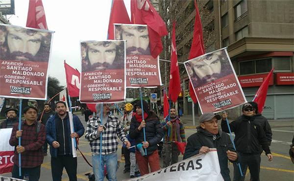 MST de Chile reclama por la aparición con vida de Santiago Maldonado