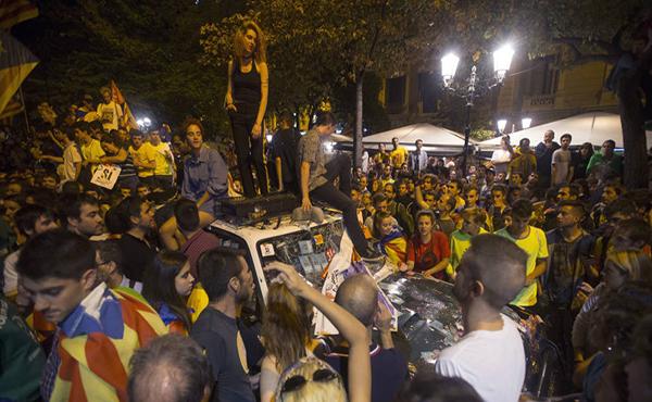 manifestantes catalanes