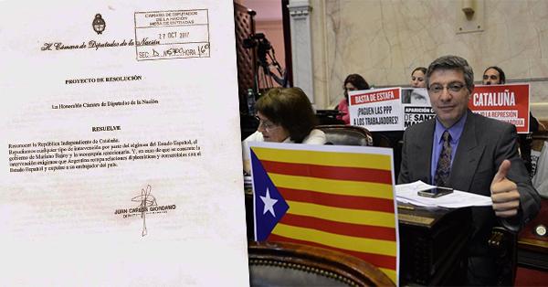 Giordano apoya la independencia catalana
