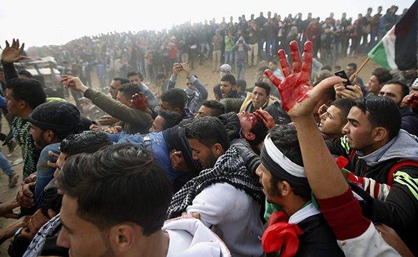 heridos en Gaza por la represión sionista