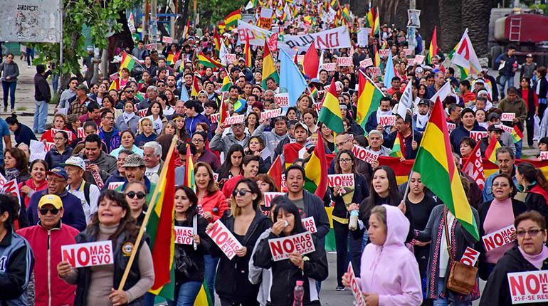 Marcha contra la reeleción en Bolivia